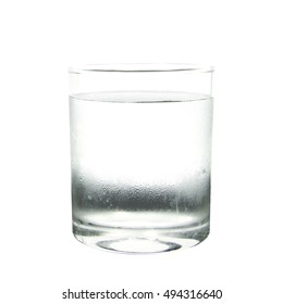 Cool water with drop in glass on white background