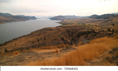 The cool water of Kamloops Lake and desert terrain along the Trans Canada Highway west about 40 km to Savona.