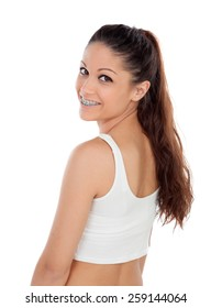 Cool young girl in underwear isolated on a white background