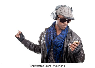 Cool young men listening to music