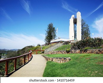Coolangatta, Australia: March 25 2019: Captain Cook Memorial and Lighthouse is located on Point Danger near Tweed Heads. It marks the border between New South Wales and Queensland.