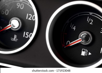 Coolant temperature and fuel level gauges on a car's dashboard