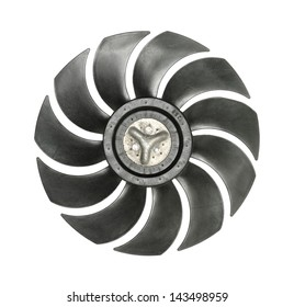 Cooler fan blades isolated on white background