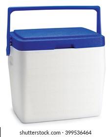 cooler ice box white blue beach picnic drinks cool travel portable freezer
