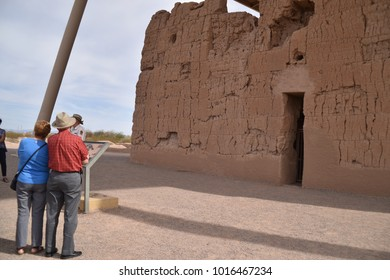 Coolidge, Arizona. U.S.A. January 30, 2018. Casa Grande Ruins National Monument.  Built by ancient Sonoran Desert people circa 650 A.D.? to 1450 A.D.  Building had Summer solstice & lunar calendar
