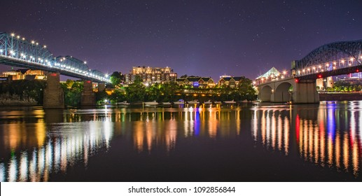 Coolidge Park and Tennessee River in Downtown Chattanooga Tennessee TN.