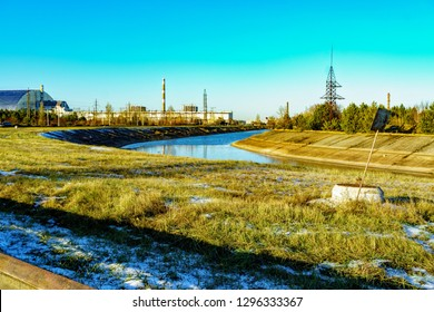 Cooling pond near Chernobyl nuclear power plant in Ukraine