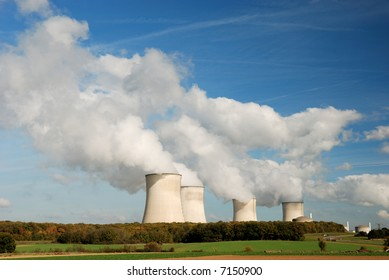 Cooling towers of an atomic power station