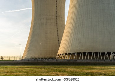 Cooling towers detail of nuclear power plant.