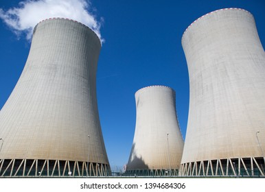 Cooling towers of a nuclear power plant. Temelin, Czech Republic.