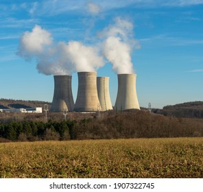 Cooling towers of nuclear power plant  with cloudy sky in the background. Nuclear power station.
