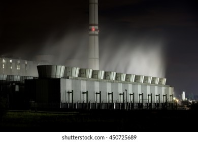 Cooling towers of a power plant at night