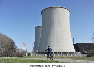 Cooling Towers and reactor building of a nuclear power plant, NPP