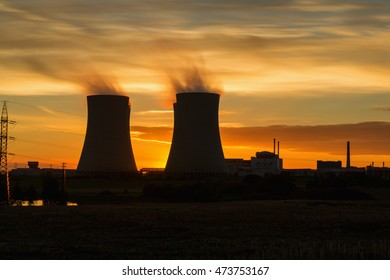 The cooling towers at twilight, nuclear power generation plant, Temelin, Czech Republic