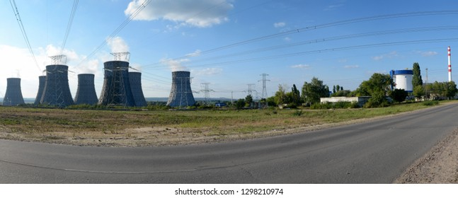 """Cooling towers and wires of New Voronezh Nuclear Power Plant. New Voronezh town (russian """"Нововоронеж""""), Voronezh Region, Russia."""