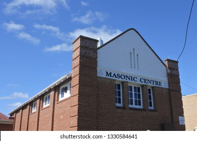COOMA,NSW - MAR 02  2019:Masonic Center in Cooma Town New South Wales Australia.Freemasons gathering in a Lodge to work the three basic Degrees of Entered Apprentice, Fellowcraft and Master Mason.