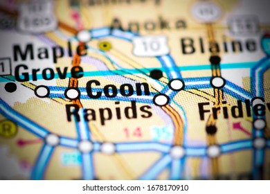 Coon Rapids. Minnesota. USA on a map