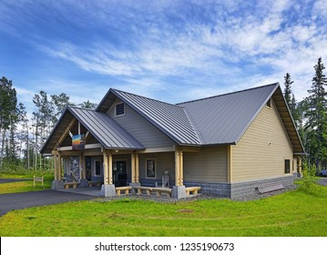 COOPER CENTER, ALASKA, USA – JULY 28, 2018: Visitor Center Complex of Wrangell St. Elias National Park, Located 10 miles south from the intersection of the Glenn Highway and the Richardson Highway.