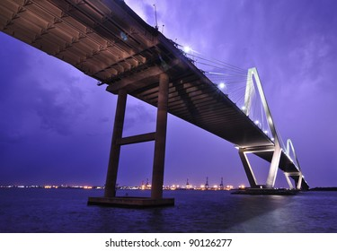 Cooper River Bridge During a Lightning Storm, Charleston, SC