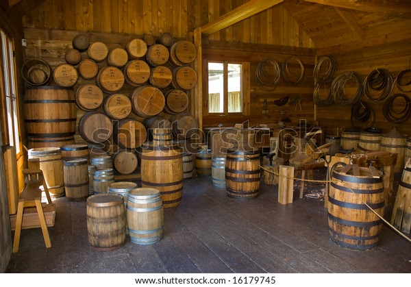 The cooperage at historic Fort Langley, British Columbia, showing barrels and barrel making equipment used for storage of dry goods