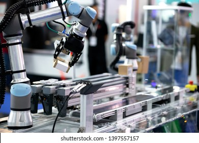 Co-operate robot is working by pick the box to packing in manufacturing factory concept smart warehouse 4.0.