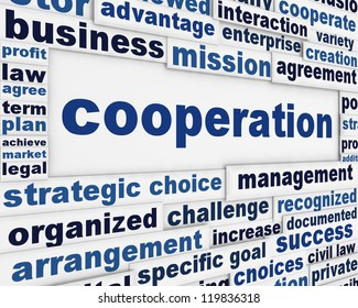 Cooperation conceptual poster design. Working together business message background