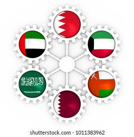 Cooperation Council for the Arab States of the Gulf political and economic union members flags on gears. 3D rendering
