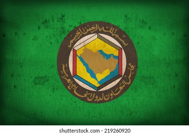 Cooperation Council for the Arab States of the Gulf flag pattern on the fabric texture ,vintage style