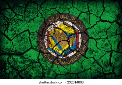 Cooperation Council for the Arab States of the Gulf  flag pattern on the crack soil texture ,retro vintage style