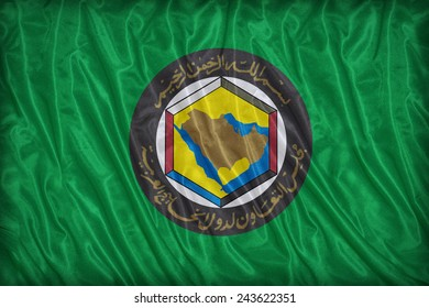 Cooperation Council for the Arab States of the Gulf flag pattern on fabric texture, vintage style