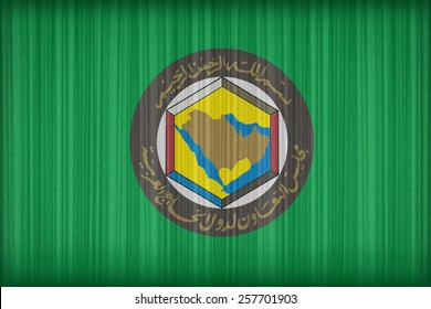 Cooperation Council for the Arab States of the Gulf flag pattern on the fabric curtain,vintage style