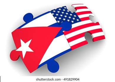 The cooperation of Cuba and the United States of America. Puzzles with flags of the United States of America and Cuba. The concept of coincidence of interests in geopolitics. Isolated. 3D Illustration