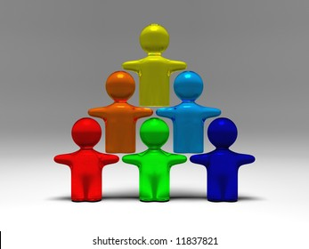 cooperation shown by some symbolic people standing on each other in three rows creating a pyramid