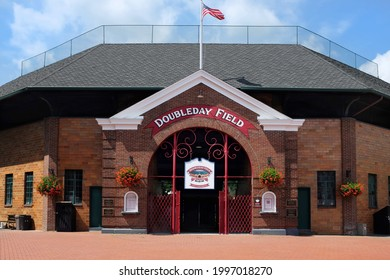 COOPERSTOWN, NEW YORK - 21 JUNE 2021: Doubleday Field is named for Abner Doubleday and located two village blocks from the National Baseball Hall of Fame and Museum.