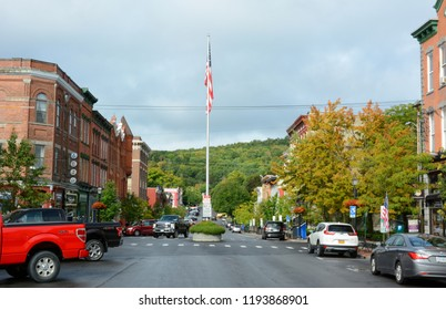 COOPERSTOWN, NEW YORK - SEPT 28, 2018: Main Street in the upstate town and home of the National Baseball Hall of Fame.