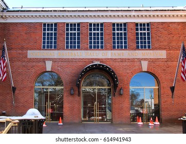 Cooperstown, New York, USA. March 18, 2016. Entrance to the National Baseball Hall of Fame