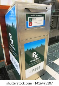 Cooperstown, NY - June 3, 2019: A drug take back unit at a pharmacy allows safe disposal of perscription medications to help combat drug abuse