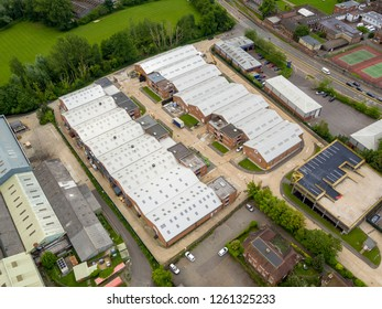 Coopervision, Ashford, Kent / UK- June 03 2018: Aerial view of Coopervision contact lens manufacturer in Ashford, Kent