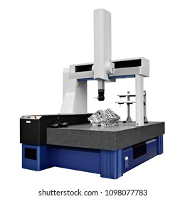 The Coordinate Measuring CMM Machine isolated on a white background.  Repair motor block of cylinders, operator inspection dimension aluminium automotive par in industrial factory.