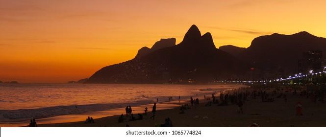Copacabana Beach after Sunset in Rio de Janeiro, Brazil.