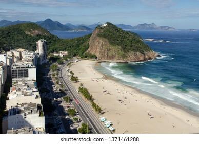 Copacabana Beach - Leme District - Fort Duque de Caxias in top of the hill