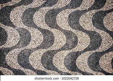 Copacabana Beach Mosaic pattern top view, Rio De Janeiro, Brazil