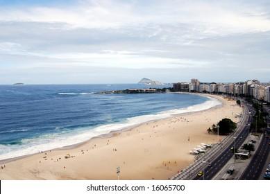 Copacabana beach in Rio de Janeiro, to the southwest, shot from a beachfront rooftop