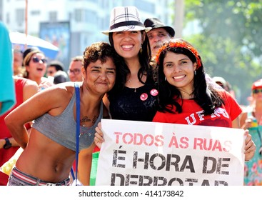 Copacabana beach, Rio de Janeiro, Brazil - April 17, 2016: People protest in support of President Dilma Rousseff.