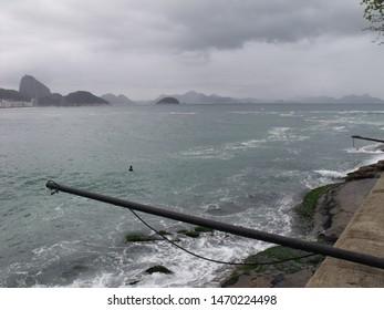 Copacabana beach sea in cloudy day Rio de Janeiro - Brazil
