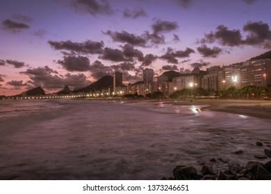 Copacabana beach at sunset in Rio de Janeiro, Brasil Brazil
