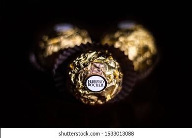 Copan Ruinas, Copan/Honduras - June 23/2018: Studio shot of the prestigious chocolates Ferrero Rocher, Candy, still life, peanuts related picture.