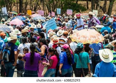 COPAN RUINAS, HONDURAS - APRIL 12, 2016: Indigenous people protest against minery near the archaeological park Copan, Honduras