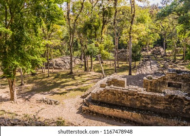 Copan Ruins, Honduras. February 2018. A view of the cemetery at the UNESCO world heritage site at Copan Ruins in Honduras.