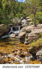 Copeland Falls on North St. Vrain Creek in the Wild Basin of Rocky Mountain National Park near Allenspark, Colorado.